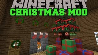 Minecraft: CHRISTMAS MOD (SANTA GIVES YOU PRESENTS, DECORATIONS AND FOOD) Wintercraft Mod Showcase