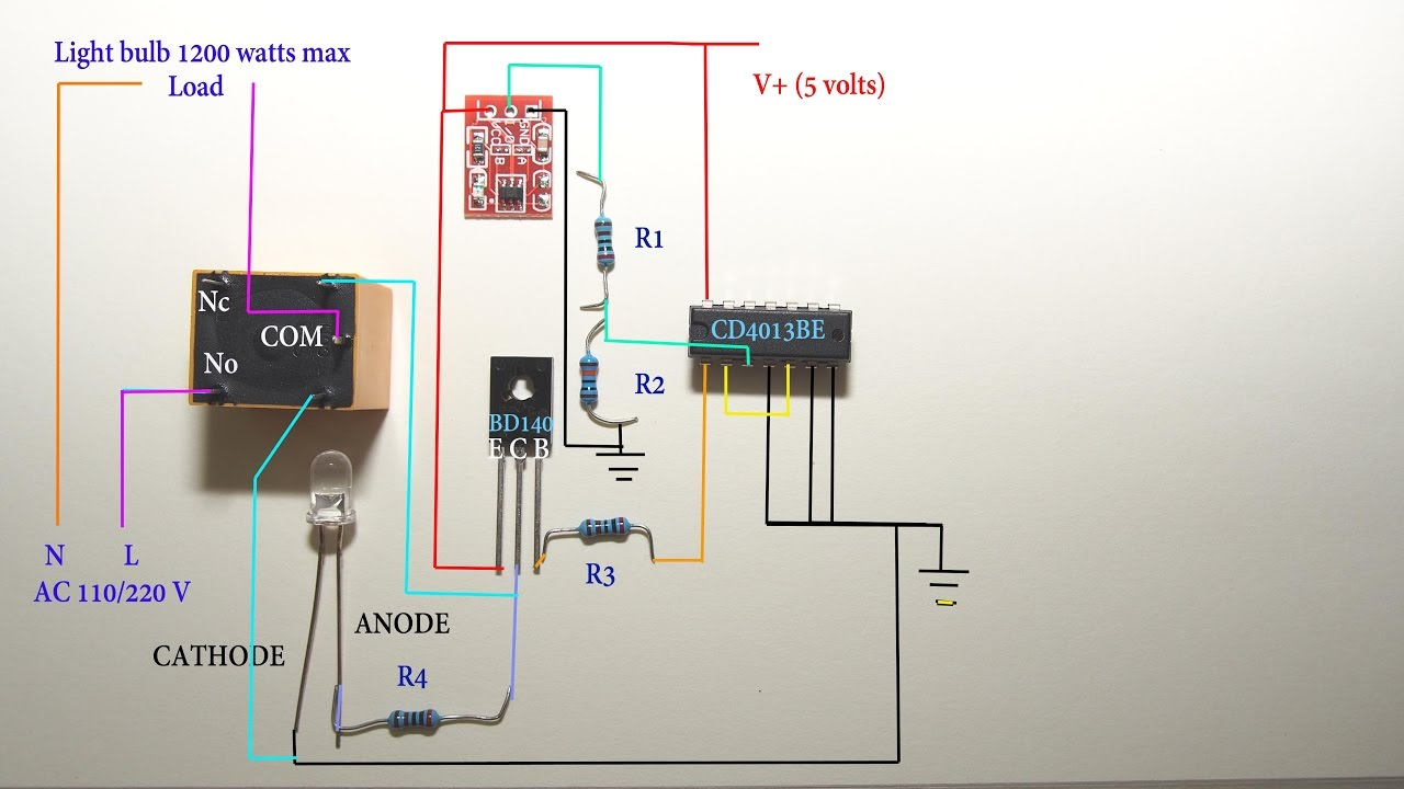 Touch sensitive light switch circuit diagram - YouTube