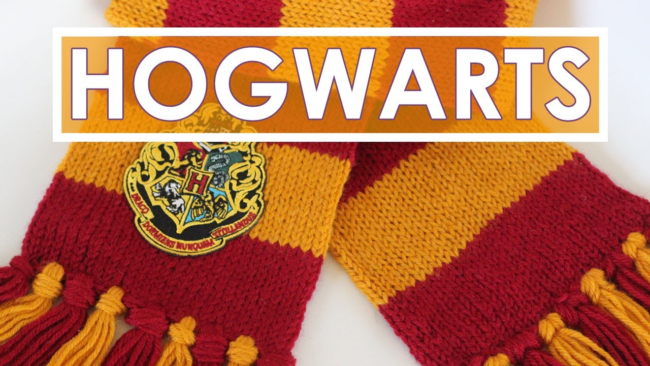 How to Knit a SCARF | Harry Potter Hogwarts Gryffindor - YouTube