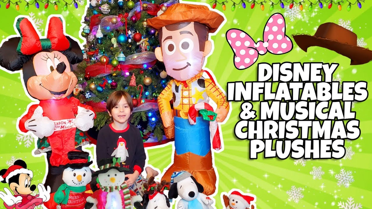 Disney Clearance Christmas Inflatables And Musical Dancing Plushes Minne Mouse Woody Snoopy Youtube