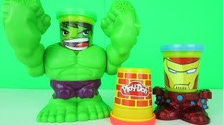 Play Doh MARVEL CAN HEADS Smashdown Hulk Playset Playdough 2015 Toys Iron Man Fights Hulk