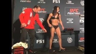 Jessica Eye and Kalindra Faria - Official Weigh-ins - (UFC Fight Night: Stephens vs. Choi) - /r/WMMA