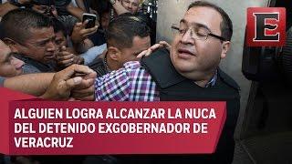 Propinan zape a Javier Duarte cuando iba rumbo a su audiencia