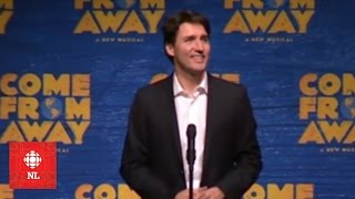 Justin Trudeau speaks to audience at Come From Away