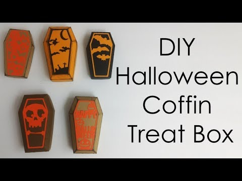 [Tutorial + Template] DIY Halloween Crafts Coffin Treat Box