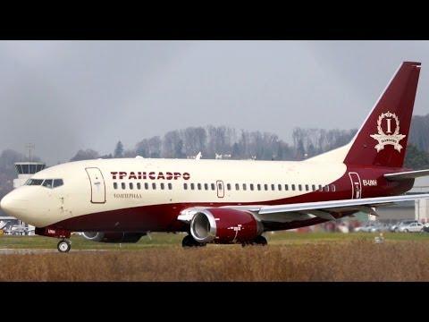 Boeing 737-500 Transaero Imperial Landing & Take Off at Bern Airport