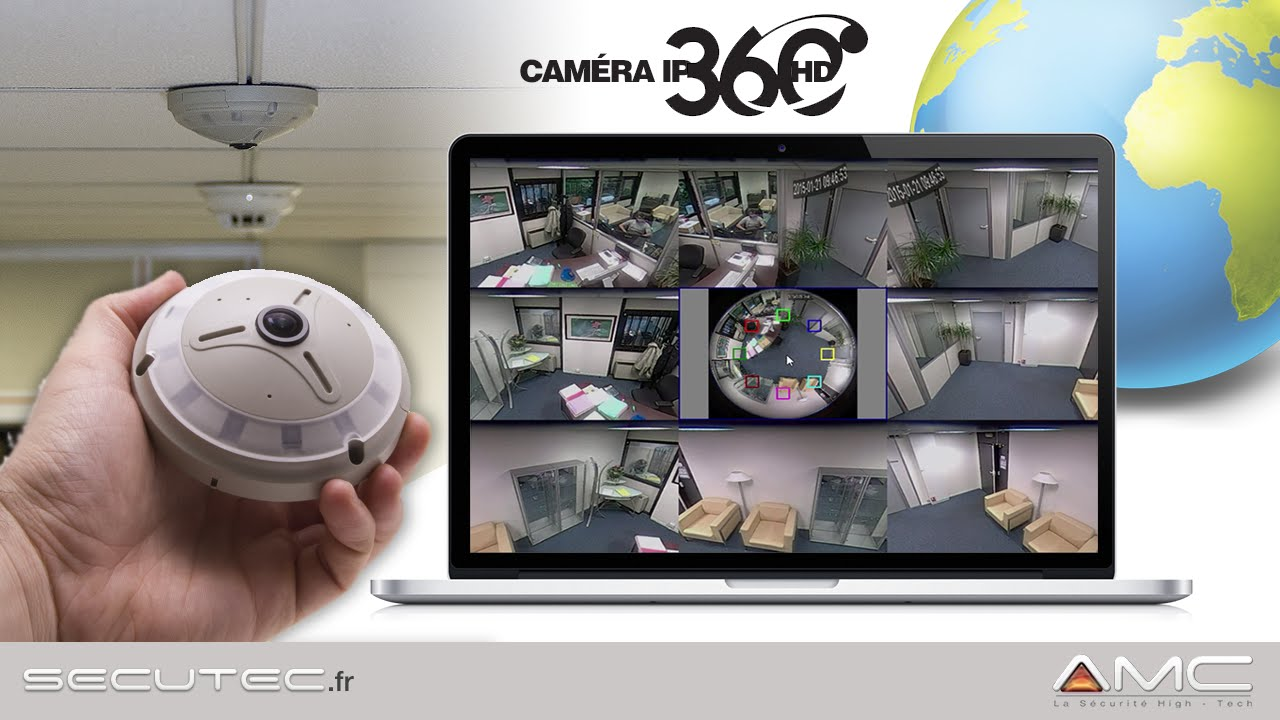 camera videosurveillance ip hd panoramique 360 avec acces smartphone secutec fr youtube. Black Bedroom Furniture Sets. Home Design Ideas