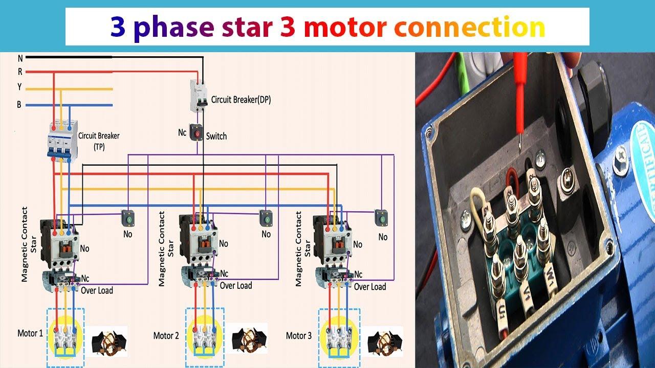 3 Phase Star 3 Motor Connection 3 Phase Motor Motor Youtube