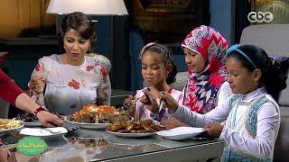 """شاهد شيرين تستمتع بأكل """"فتة"""" عيد الأضحى مع أطفال مؤسسة مصر الخير في برنامج صاحبة السعادة"""