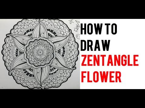 How To Draw Complex Zentangle Flower Art Design For Beginners, Easy Tutorial Doodle Step By Step