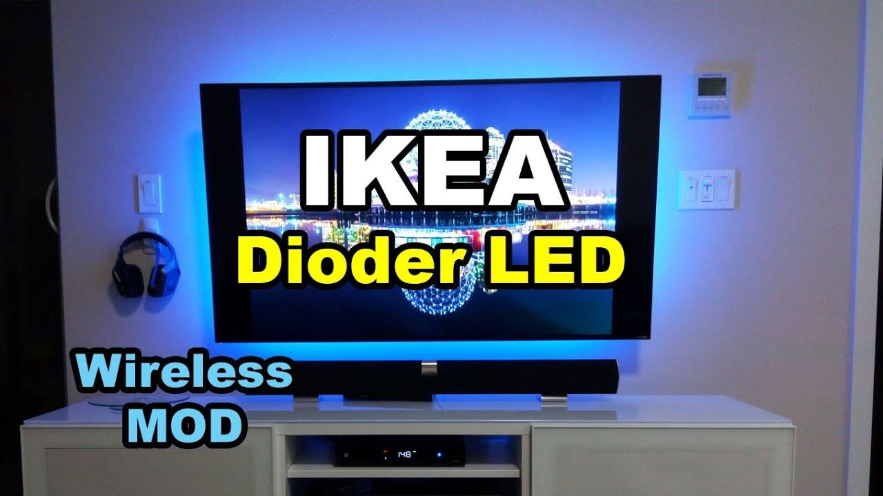 ikea dioder wireless hack mod led strip lights backlight tv monitor youtube. Black Bedroom Furniture Sets. Home Design Ideas