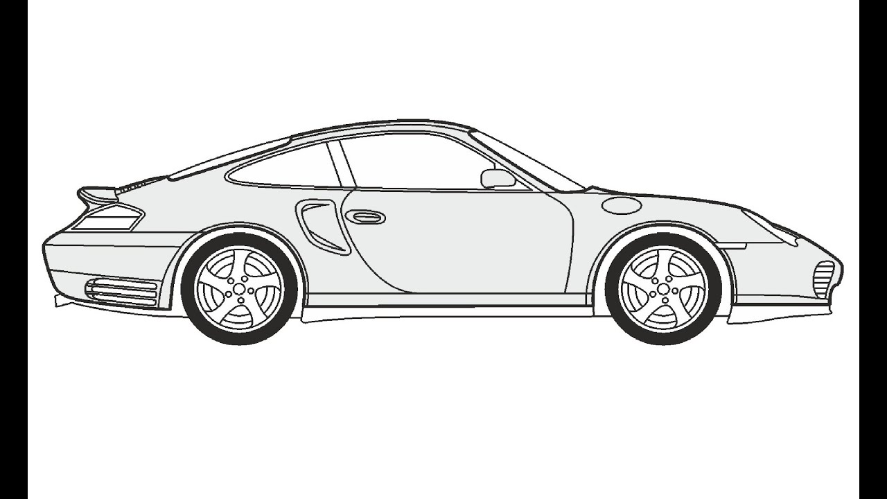 How to Draw a Porsche 911 Turbo / Как нарисовать Porsche