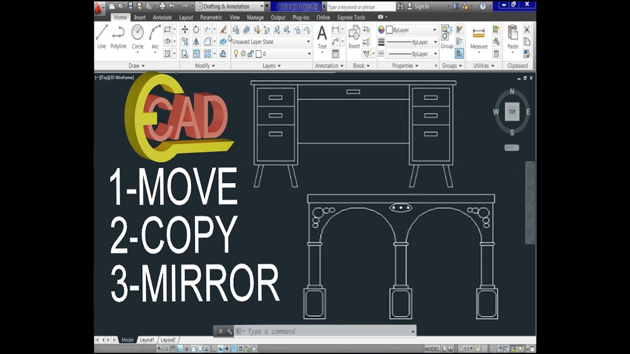 Learning autocad 2013 tutorial 7 move copy and mirror for Copy cad