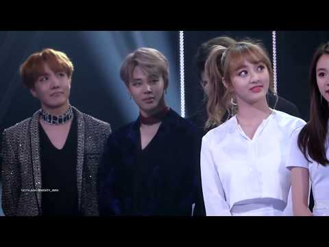 BTS Jhope Jimin Jungkook reaction to TWICE Mina Tzuyu Speech at Asia Artist Awards 2016 ver.5