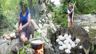 survival in the rainforest-woman meeting crocodle at river - Cooking egg for  dog eating delicious