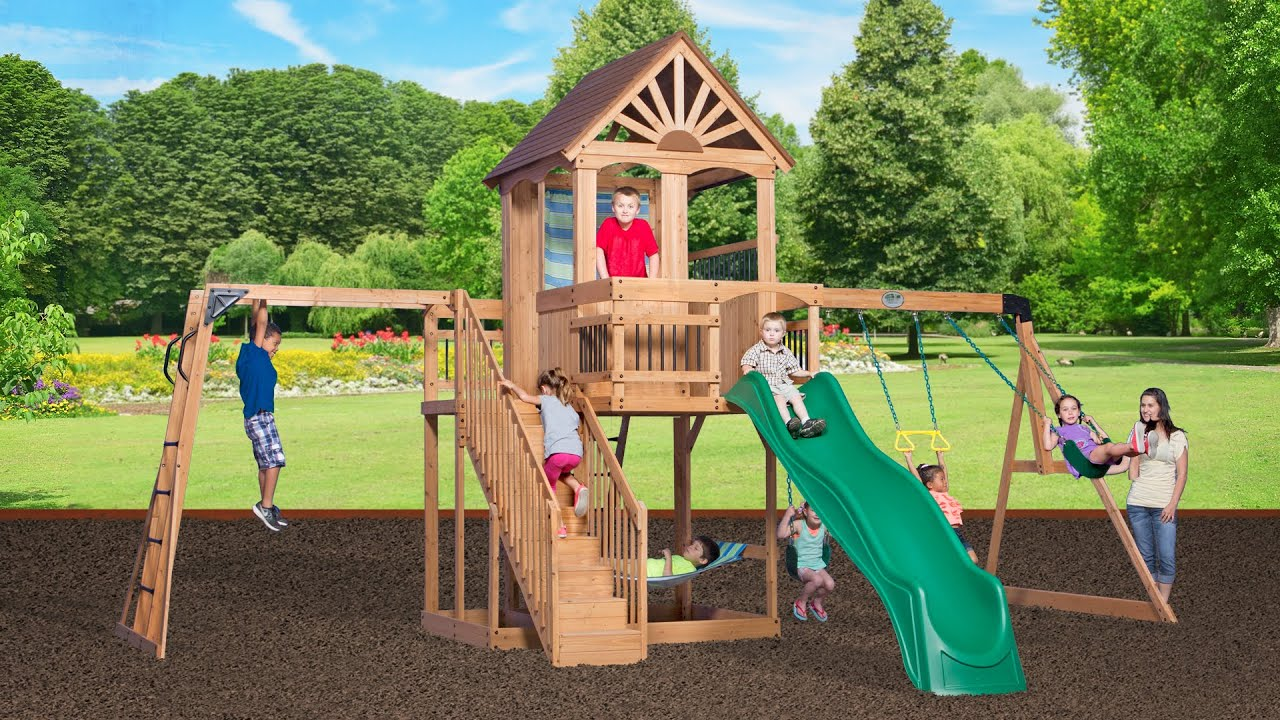 Backyard Discovery Cedar View Swing Set oceanview swing set product video - youtube