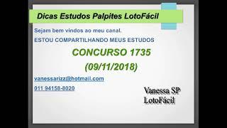 LotoFácil 1735 - Palpites com 15 14 e 13 Acertos no último concurso.