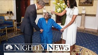 106-Year-Old Woman Dances With Joy as She Meets the Obamas | NBC Nightly News