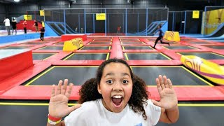 Trampoline Park! Wipeout Challenge   Family Fun Video