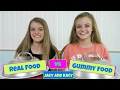 Real Food Vs Gummy Food Challenge ~ Jacy And Kacy video