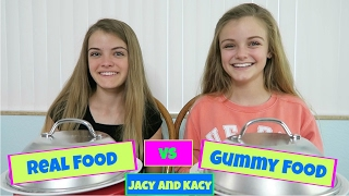 Real Food vs Gummy Food Challenge ~ Jacy and Kacy