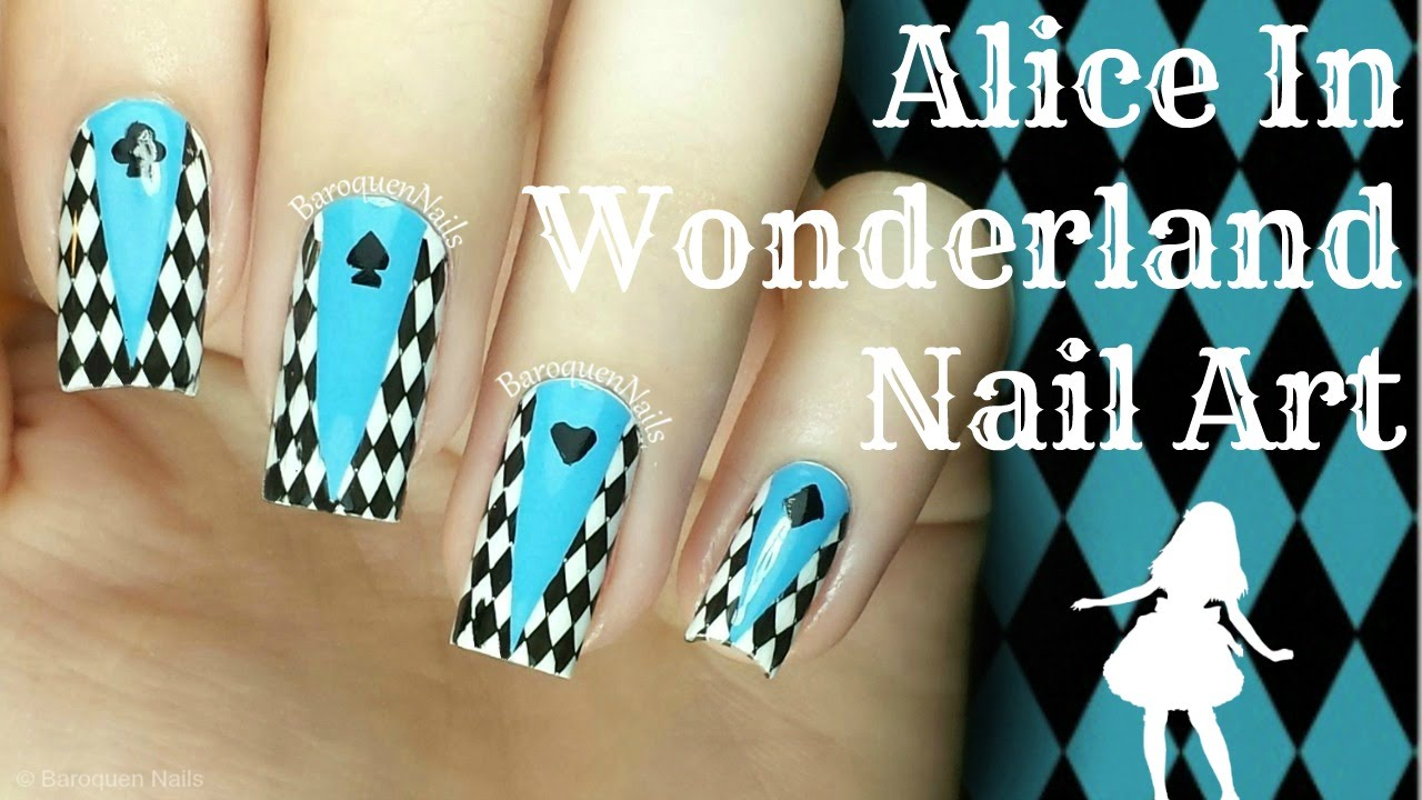 DIY Alice In Wonderland Nails Nail Art Tutorial - YouTube