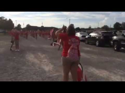 Du Quoin Middle School band warms up for Du Quoin State Fair parade
