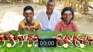 10 ANGRY BIRDS EATING CHALLENGE | 10 FULL KAADAI EATING CHALLENGE | 10 QUAIL FRY | FARMER COOKING