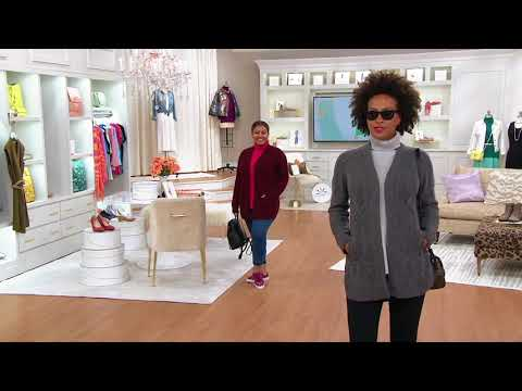 Isaac Mizrahi Live! 2-Ply Cashmere Mixed Cable Open Front Cardigan on QVC