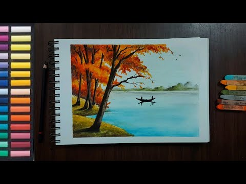 How to Draw Beautiful Spring Season Landscape for beginners- Soft Pastel Drawing/ Landscape Painting