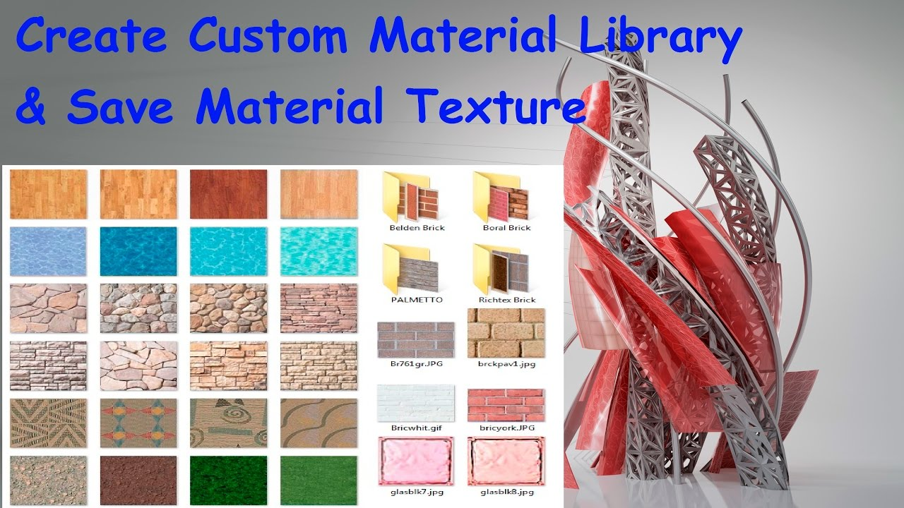How To Create Custom Material Library & Save Material Texture in AUtocad /  AutoCAD Tips & Tricks