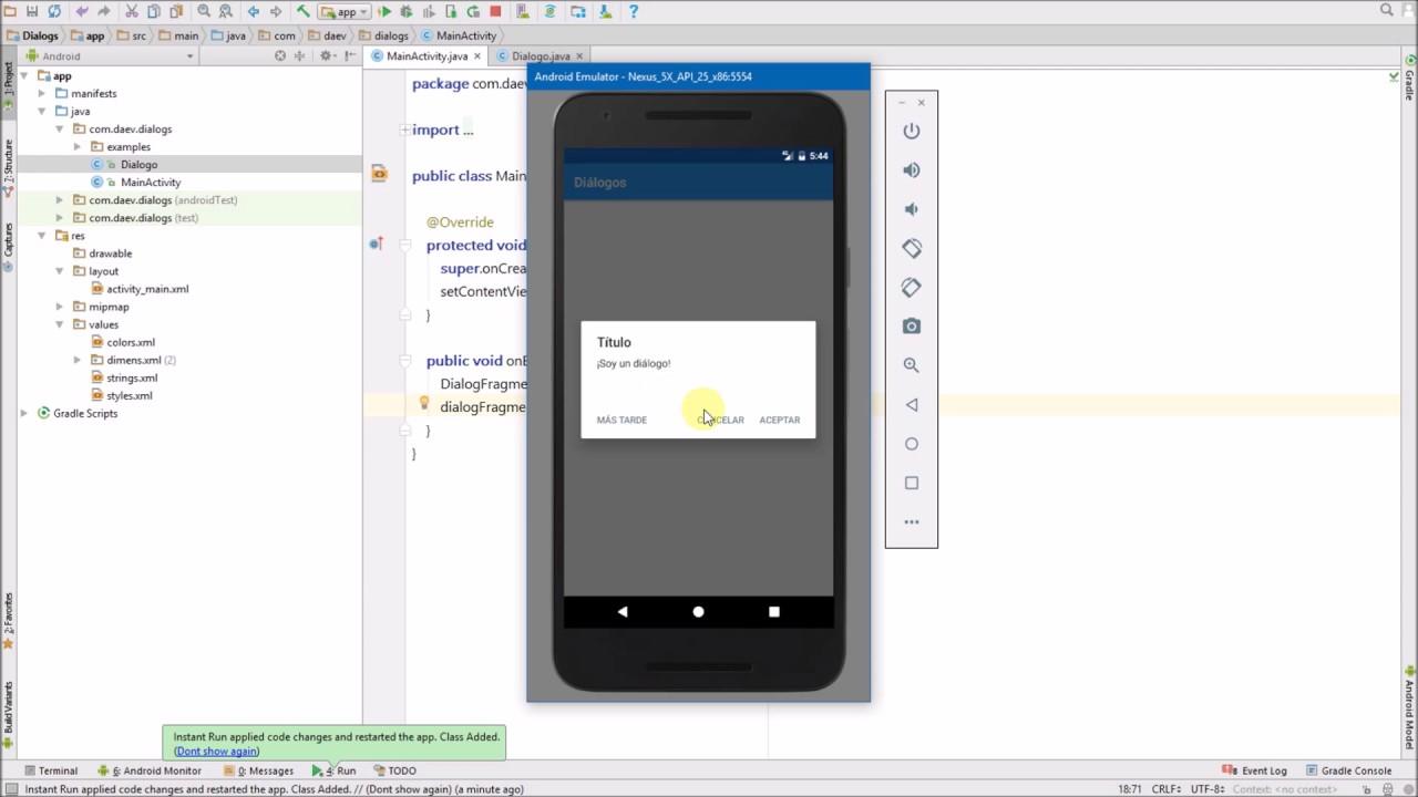 Android Diálogos - Creando un diálogo - YouTube