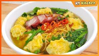 MÌ HOÀNH THÁNH - Cách Gói Hoành Thánh và Nấu Nước Lèo Đúng Vị Người Hoa -Wonton Noodle Soup Recipe