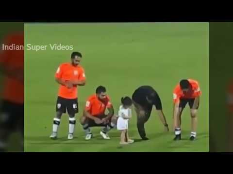 Download Youtube: Ziva Dhoni with her Dad & Virat Kohli during Football Match Celebrity Classico 2017