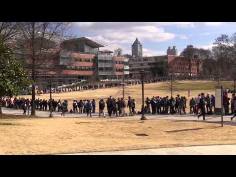 Long Lines for Ticket to See President Obama at Georgia Tech