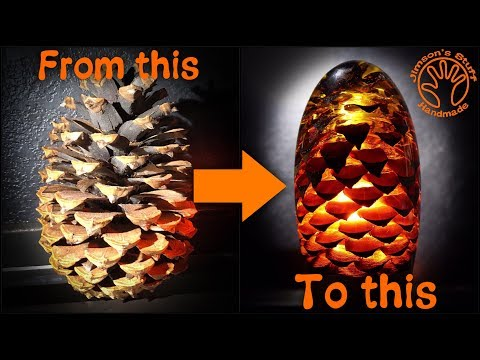 Woodturning The Amber Pinecone Lamp - Fiery Dragon Egg