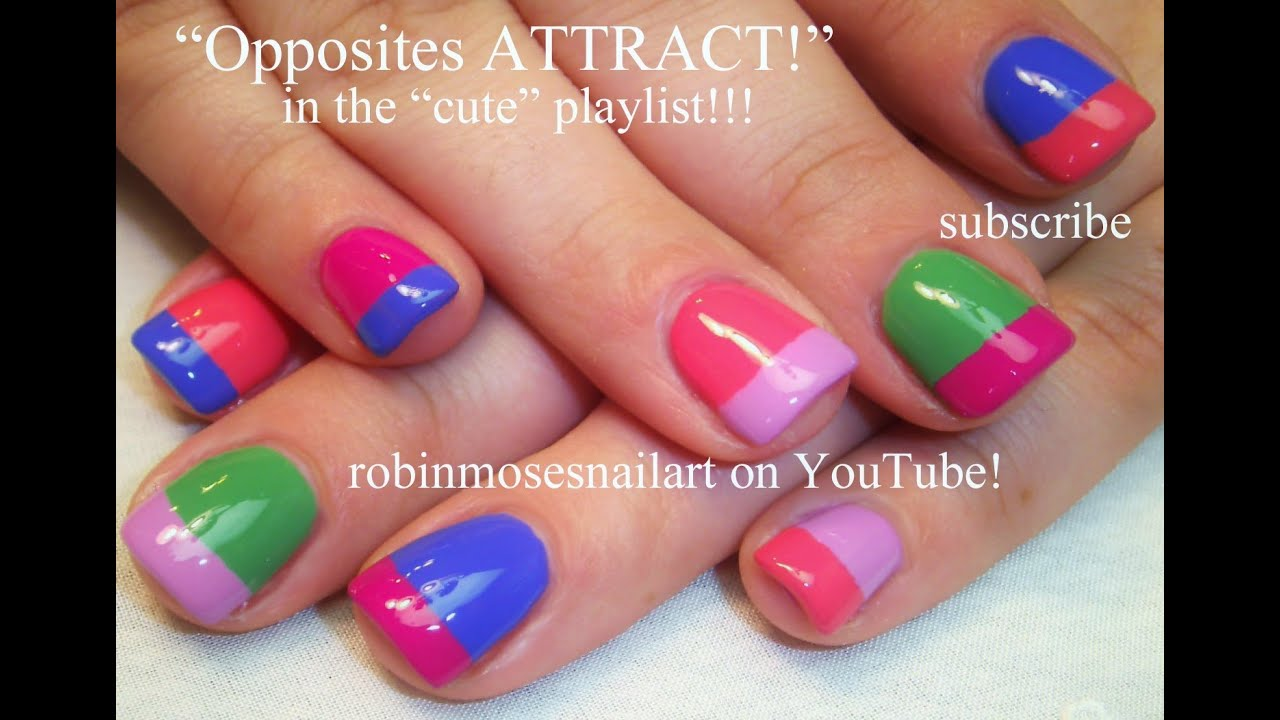 Easy Rainbow French Manicure Nail Art Design Tutorial - YouTube