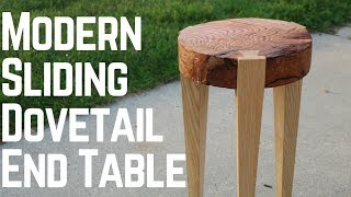 Modern End Table With Sliding Dovetails! How To   Woodworking