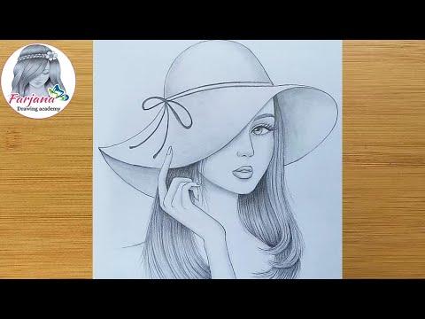 How To Draw A Girl Wearing Hat Step By Step Pencil Sketch Bir Kiz Nasil Cizilir Youtube