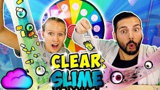 CLEAR SLIME GLÜCKSRAD CHALLENGE mit Kathi & Kaan Wer hat die verrücktesten Zutaten im Schleim?