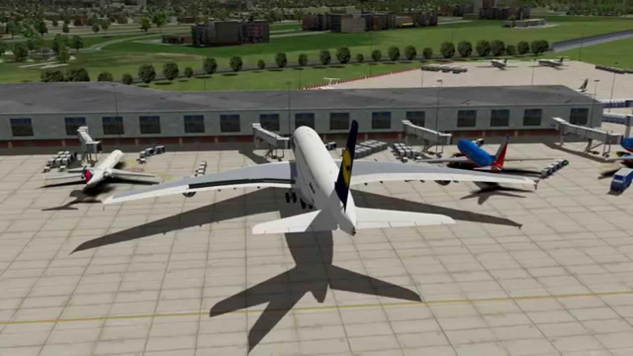 X-Plane 10: Lufthansa A380, BluFX, Enhanced Runways HD, Chicago Scenery