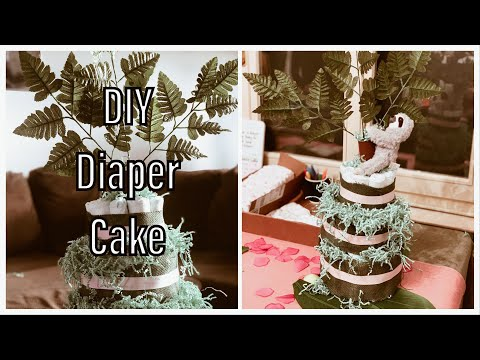 Easy Jungle Diaper Cake For Baby Shower   DIY Arts And Crafty