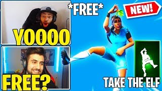 Streamers React to NEW *FREE* Fortnite TAKE THE ELF Emote/Dance!!