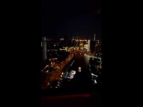 Tianjin Haihe river,night view,see from Tianjin eye