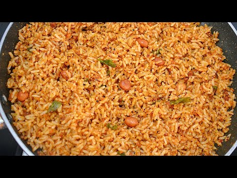 Spicy Groundnut Rice / Peanut Rice - Quick Cooking Lunch Recipes