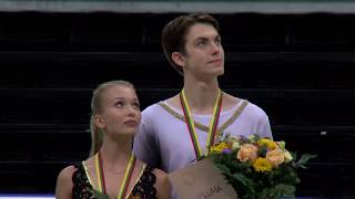 Танцы на льду церемония награждения победителей Гран При среди юниоров ISU 2018 в Каунасе