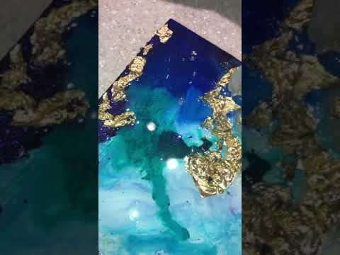 """Blue & Gold Abstract Epoxy Resin Geode Painting """"Golden Escape"""""""