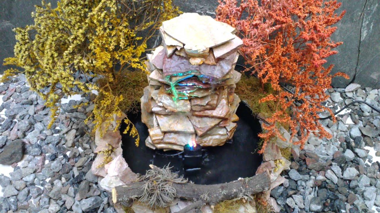 Fuente de agua mini cascada en piedra natural 30 cm de for Fuente cascada agua