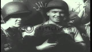 Chiang Kai Shek reviews troops in China and reinforcements arrive in India during...HD Stock Footage