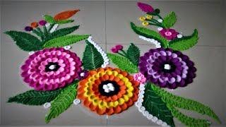 Easy Flower Design Rangoli Using Spoon| Creative Rangoli by Shital Mahajan.